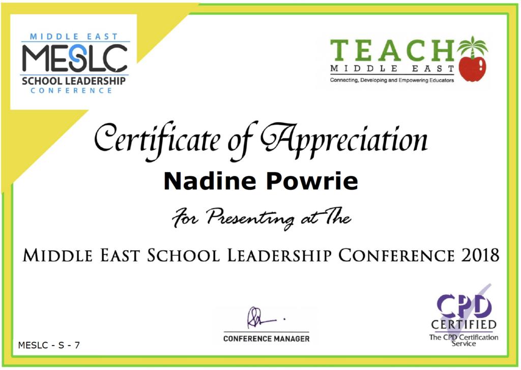 Nadine Powrie Certificate